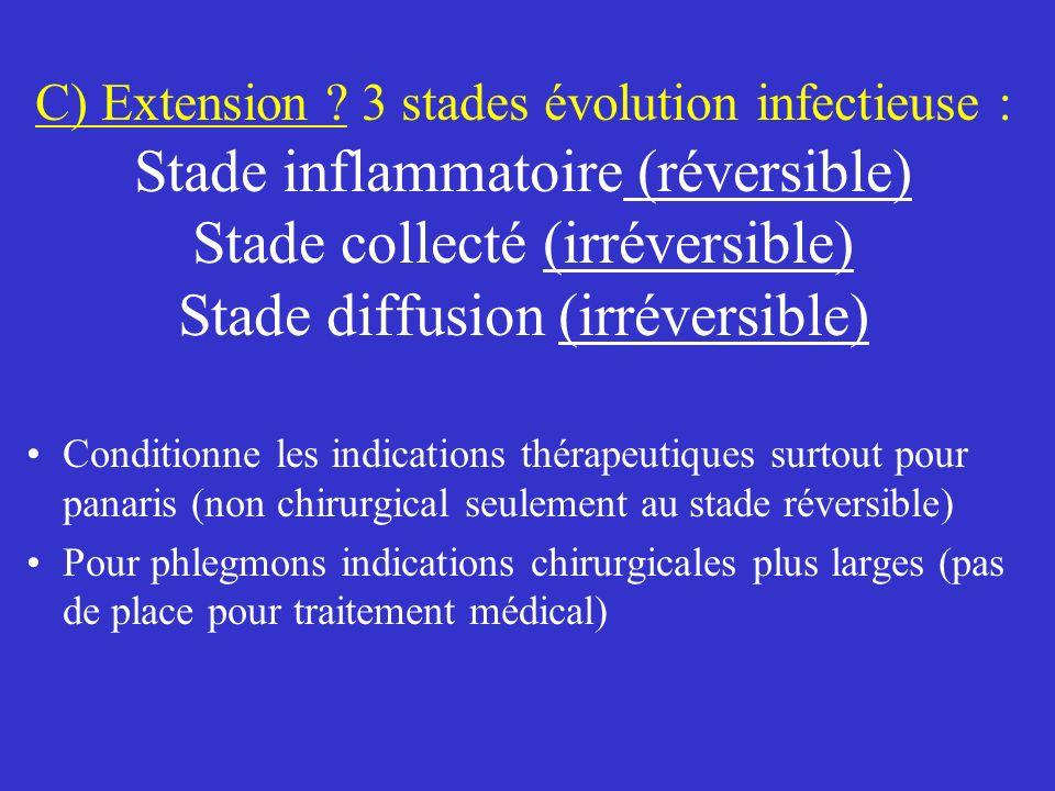 C) Extension ? 3 stades évolution infectieuse : Stade inflammatoire (réversible) Stade collecté (irréversible) Stade diffusion (irréversible) Conditio