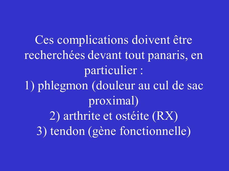 Ces complications doivent être recherchées devant tout panaris, en particulier : 1) phlegmon (douleur au cul de sac proximal) 2) arthrite et ostéite (