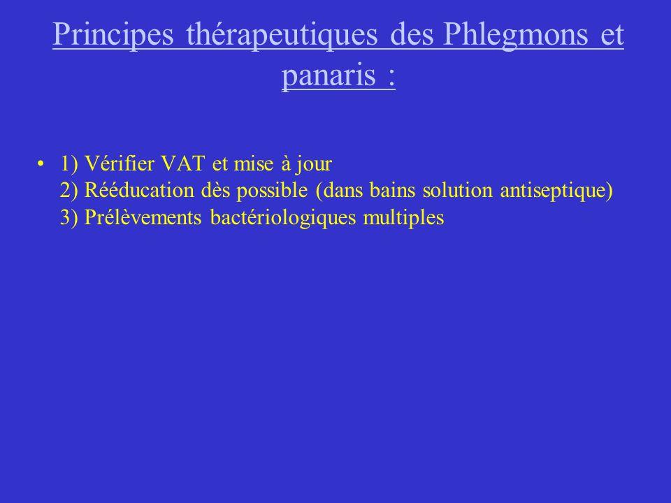 Principes thérapeutiques des Phlegmons et panaris : 1) Vérifier VAT et mise à jour 2) Rééducation dès possible (dans bains solution antiseptique) 3) P