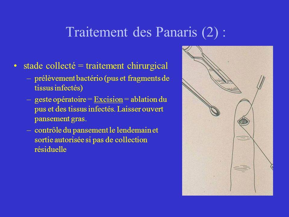 Traitement des Panaris (2) : stade collecté = traitement chirurgical –prélèvement bactério (pus et fragments de tissus infectés) –geste opératoire = E