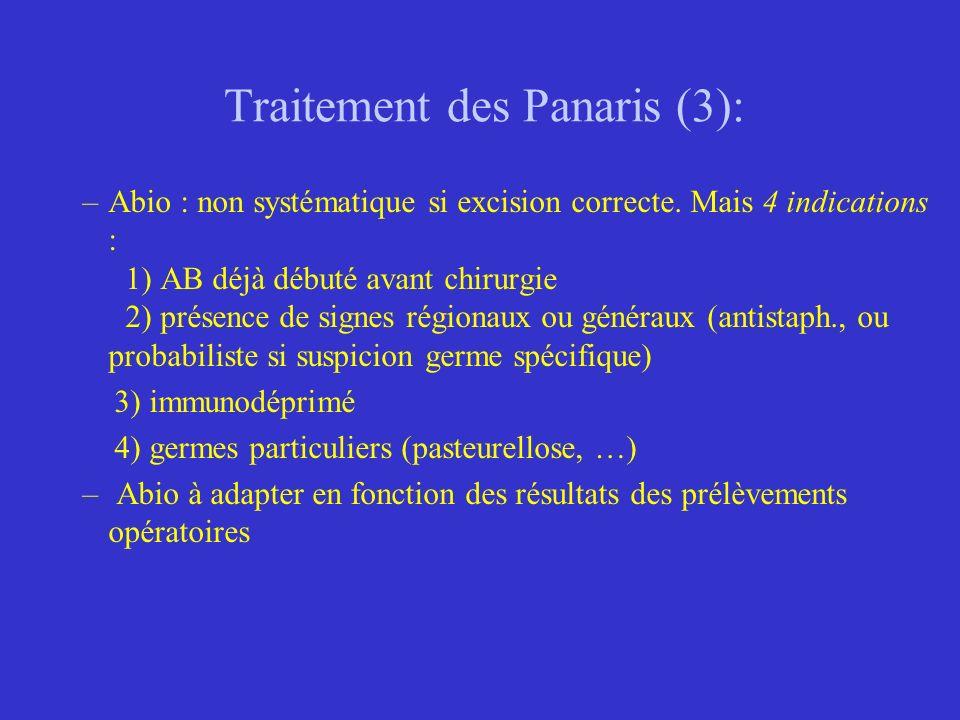 Traitement des Panaris (3): –Abio : non systématique si excision correcte. Mais 4 indications : 1) AB déjà débuté avant chirurgie 2) présence de signe