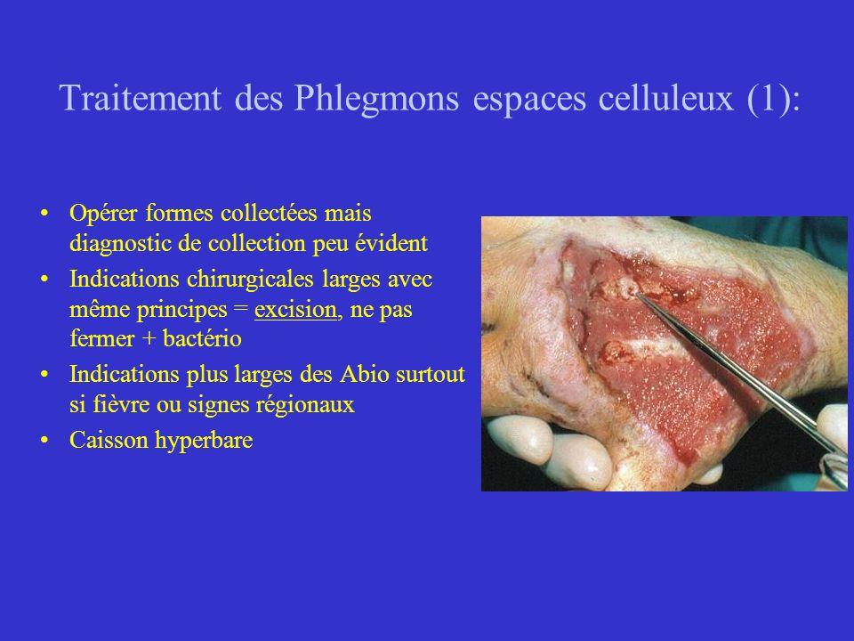 Traitement des Phlegmons espaces celluleux (1): Opérer formes collectées mais diagnostic de collection peu évident Indications chirurgicales larges av