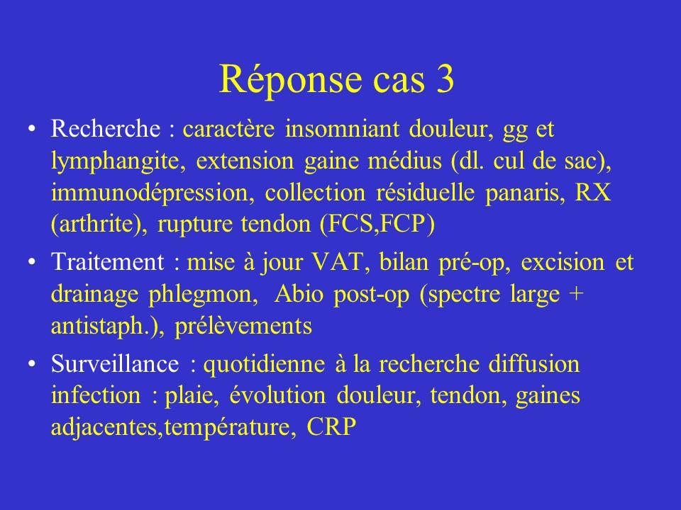 Réponse cas 3 Recherche : caractère insomniant douleur, gg et lymphangite, extension gaine médius (dl. cul de sac), immunodépression, collection résid