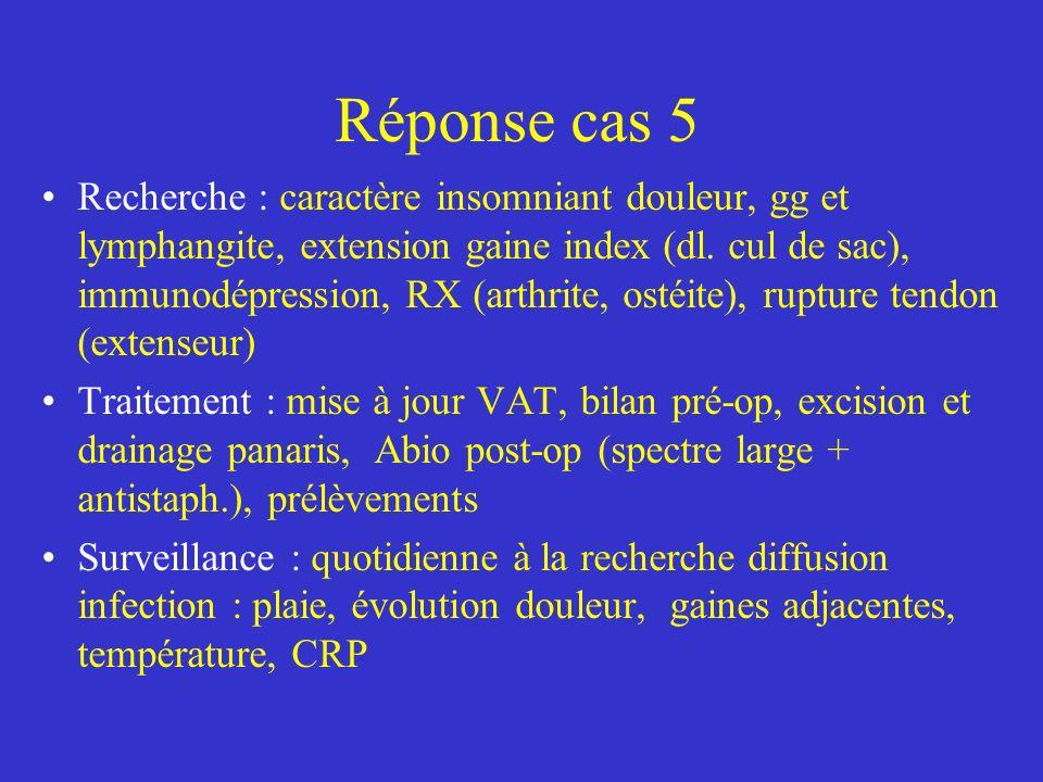 Réponse cas 5 Recherche : caractère insomniant douleur, gg et lymphangite, extension gaine index (dl. cul de sac), immunodépression, RX (arthrite, ost