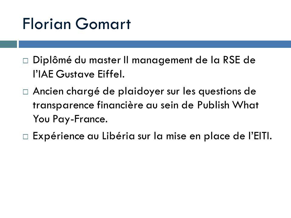 Diplômé du master II management de la RSE de lIAE Gustave Eiffel. Ancien chargé de plaidoyer sur les questions de transparence financière au sein de P