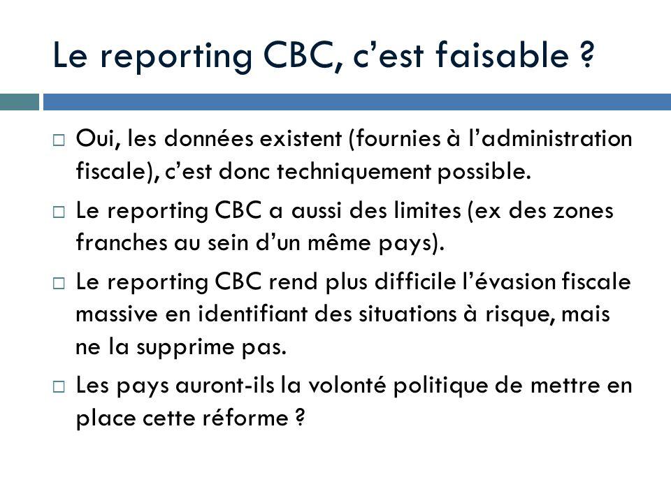 Le reporting CBC, cest faisable ? Oui, les données existent (fournies à ladministration fiscale), cest donc techniquement possible. Le reporting CBC a