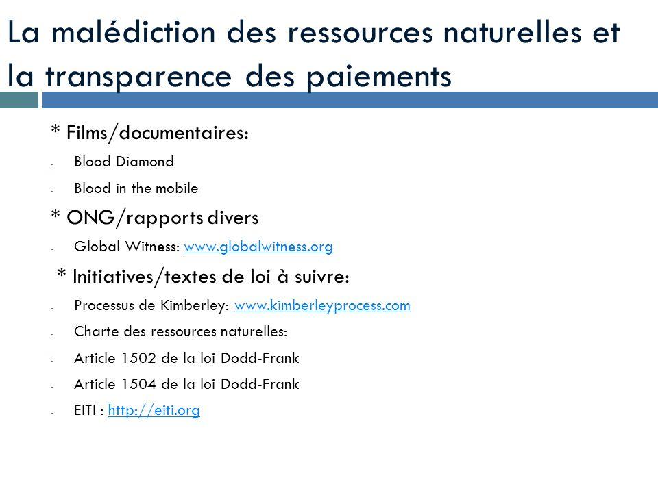 La malédiction des ressources naturelles et la transparence des paiements * Films/documentaires: - Blood Diamond - Blood in the mobile * ONG/rapports