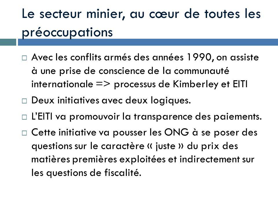 Le secteur minier, au cœur de toutes les préoccupations Avec les conflits armés des années 1990, on assiste à une prise de conscience de la communauté
