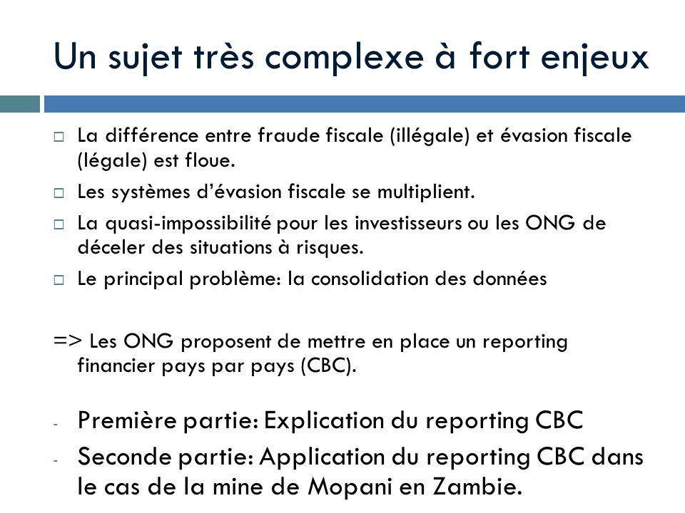 Un sujet très complexe à fort enjeux La différence entre fraude fiscale (illégale) et évasion fiscale (légale) est floue. Les systèmes dévasion fiscal