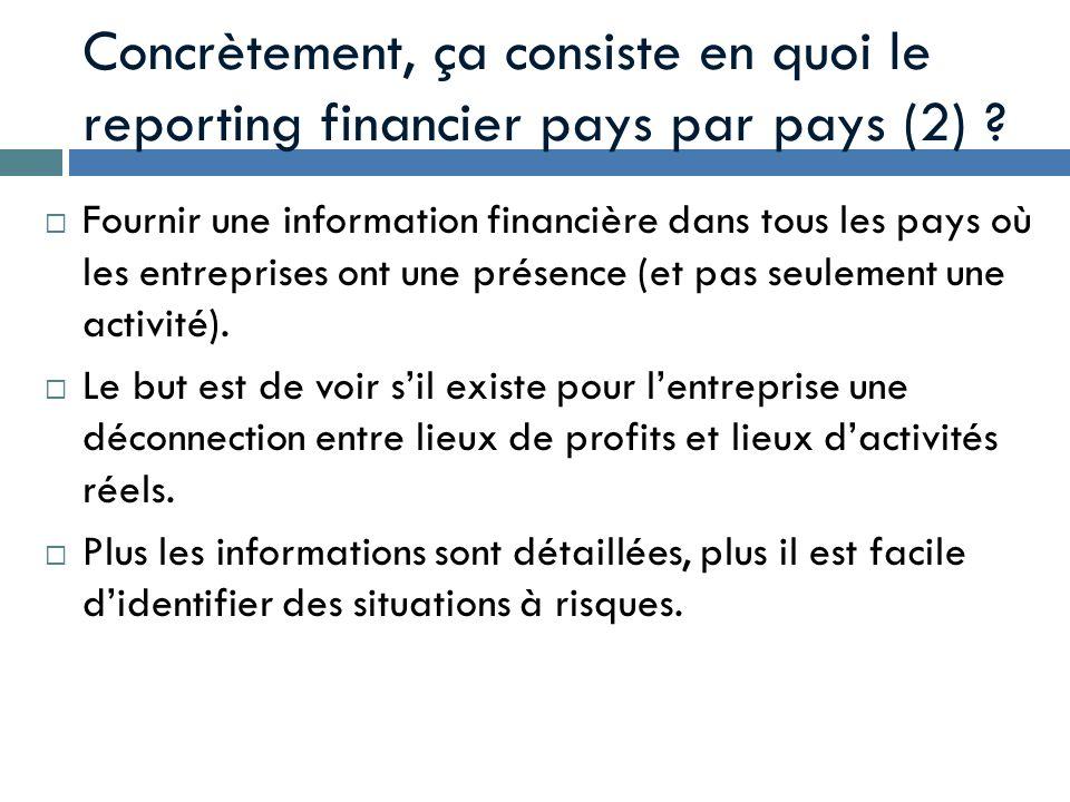 Concrètement, ça consiste en quoi le reporting financier pays par pays (2) ? Fournir une information financière dans tous les pays où les entreprises