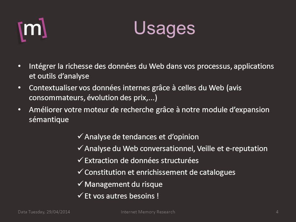 Usages Internet Memory Research4Data Tuesday, 29/04/2014 Intégrer la richesse des données du Web dans vos processus, applications et outils danalyse C