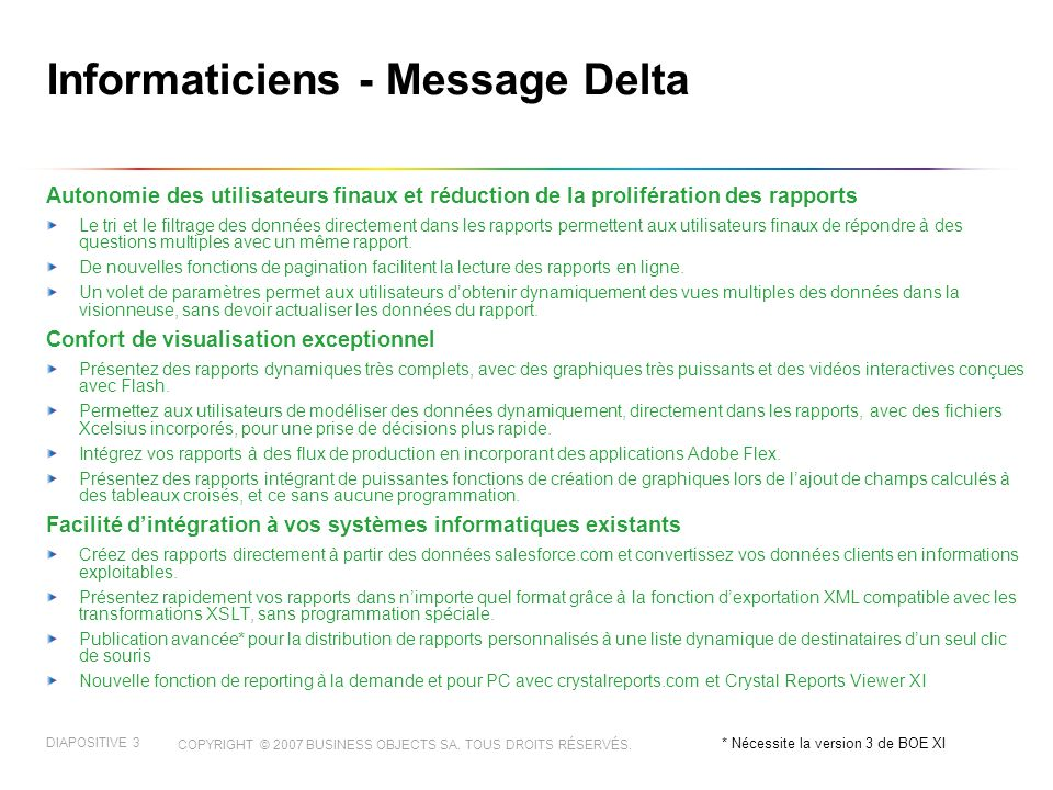 COPYRIGHT © 2007 BUSINESS OBJECTS SA.TOUS DROITS RÉSERVÉS.