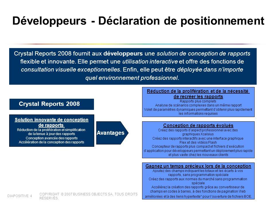 COPYRIGHT © 2007 BUSINESS OBJECTS SA. TOUS DROITS RÉSERVÉS. DIAPOSITIVE 4 Développeurs - Déclaration de positionnement Crystal Reports 2008 fournit au