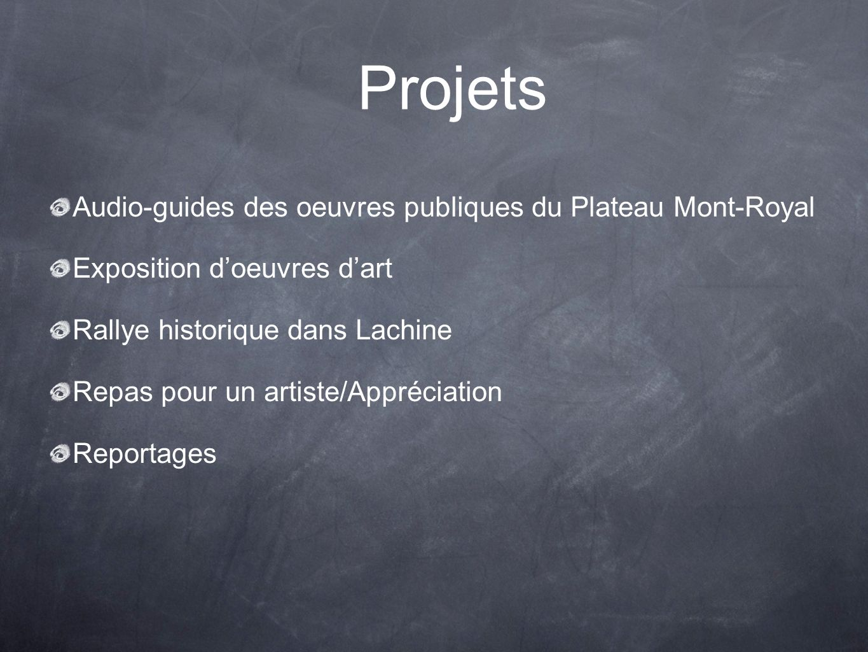 Projets Audio-guides des oeuvres publiques du Plateau Mont-Royal Exposition doeuvres dart Rallye historique dans Lachine Repas pour un artiste/Appréciation Reportages
