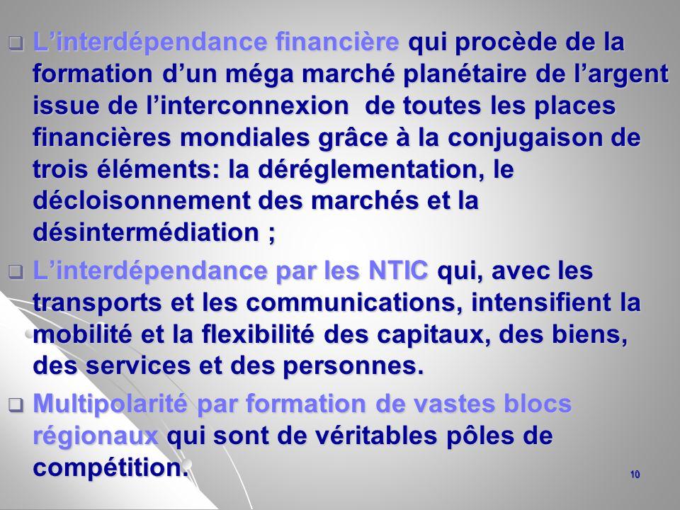 Linterdépendance financière qui procède de la formation dun méga marché planétaire de largent issue de linterconnexion de toutes les places financière