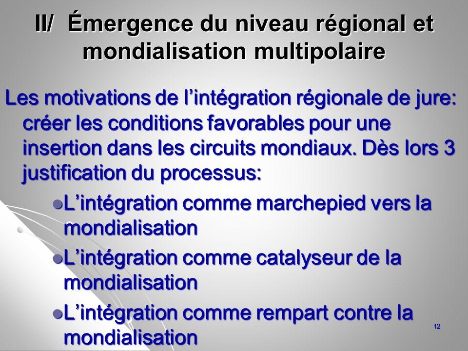 II/ Émergence du niveau régional et mondialisation multipolaire Les motivations de lintégration régionale de jure: créer les conditions favorables pou