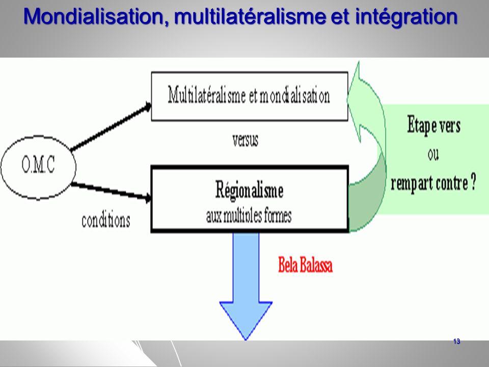 Mondialisation, multilatéralisme et intégration Mondialisation, multilatéralisme et intégration 13