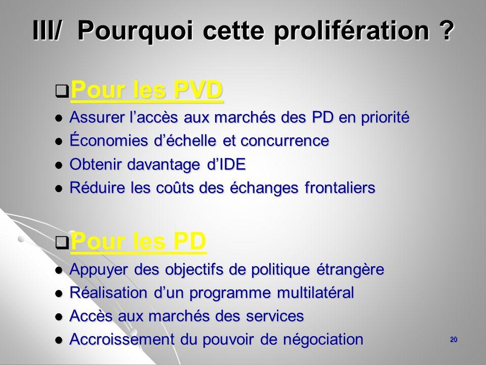 III/ Pourquoi cette prolifération ? Pour les PVD Pour les PVD Assurer laccès aux marchés des PD en priorité Assurer laccès aux marchés des PD en prior