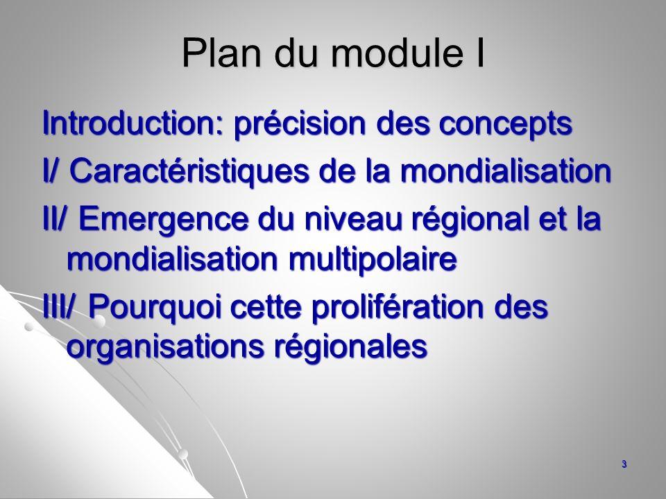 Plan du module I Introduction: précision des concepts I/ Caractéristiques de la mondialisation II/ Emergence du niveau régional et la mondialisation m