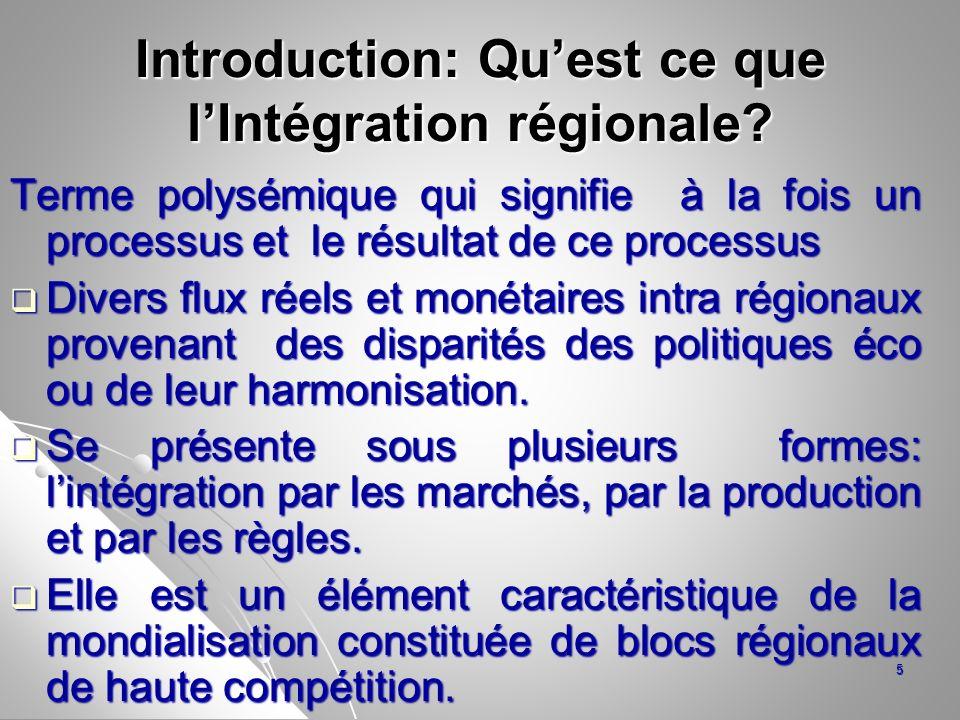 Un autre sens de lintégration Lintégration économique régionale est un processus multidimensionnel qui conduit à des interdépendances entre des espaces économiques nationaux.