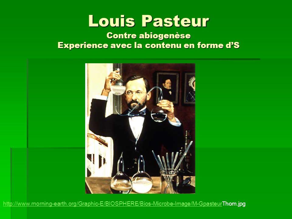 Louis Pasteur Contre abiogenèse Experience avec la contenu en forme dS http://www.morning-earth.org/Graphic-E/BIOSPHERE/Bios-Microbe-Image/M-Gpasteurh
