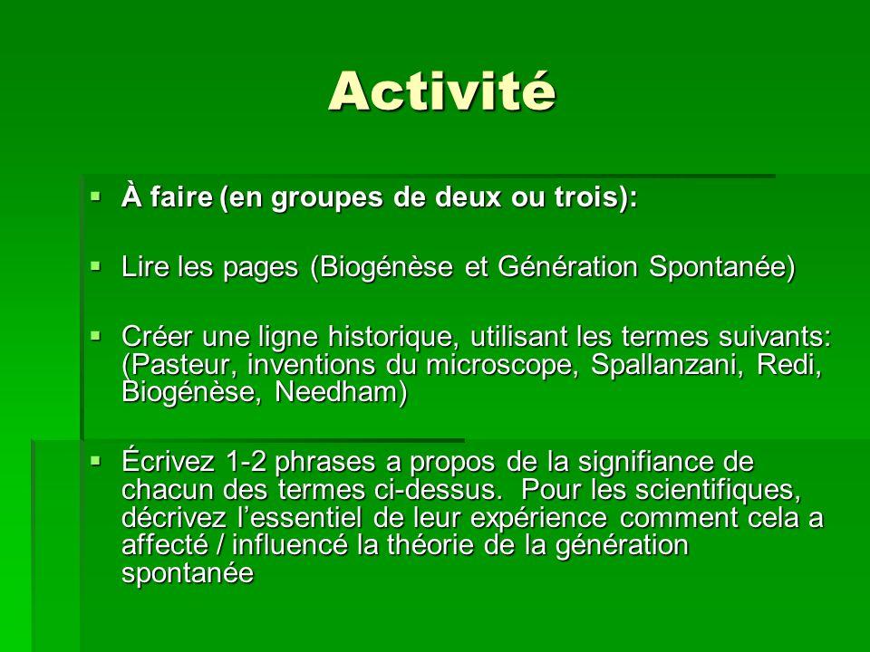 Activité À faire (en groupes de deux ou trois): À faire (en groupes de deux ou trois): Lire les pages (Biogénèse et Génération Spontanée) Lire les pag