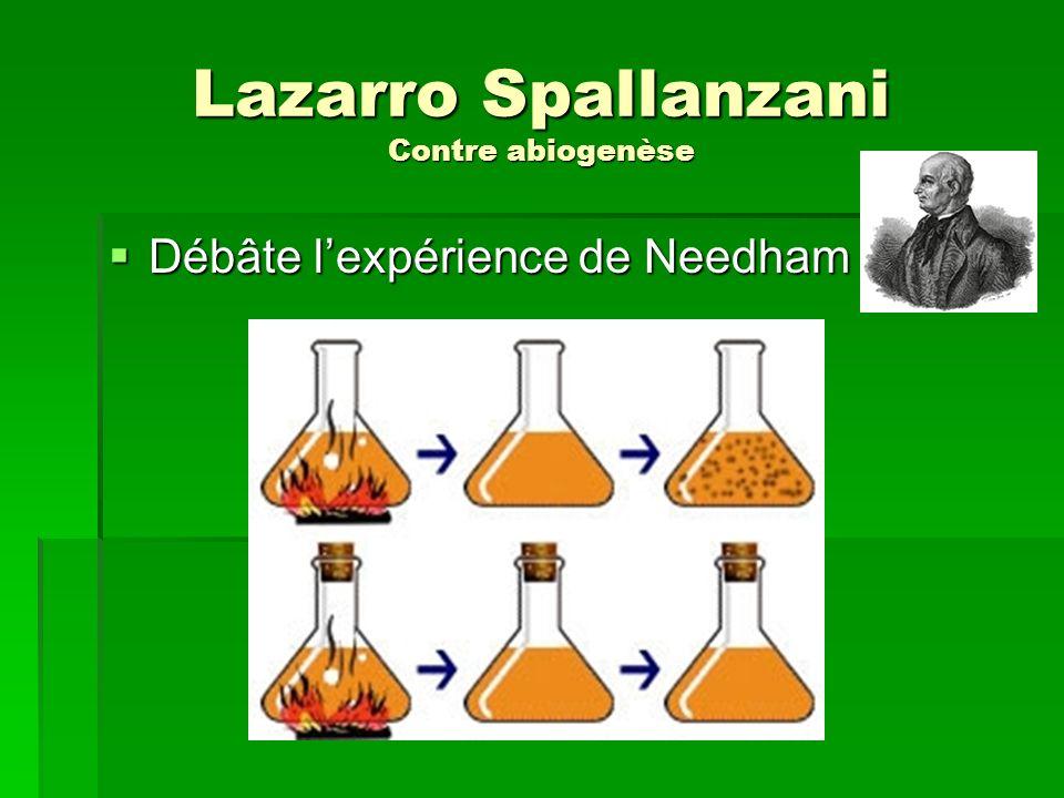 Lazarro Spallanzani Contre abiogenèse Débâte lexpérience de Needham Débâte lexpérience de Needham