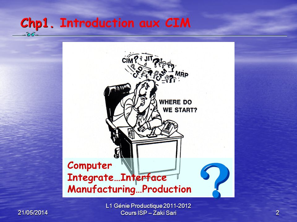 21/05/2014 L1 Génie Productique 2011-2012 Cours ISP – Zaki Sari2 Chp1. Chp1. Introduction aux CIM Computer Integrate…Interface Manufacturing…Productio