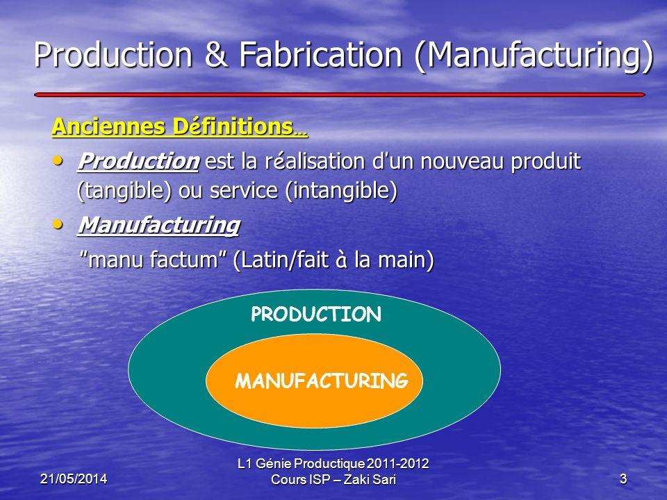 21/05/2014 L1 Génie Productique 2011-2012 Cours ISP – Zaki Sari3 Production & Fabrication (Manufacturing) Anciennes D é finitions … Production est la