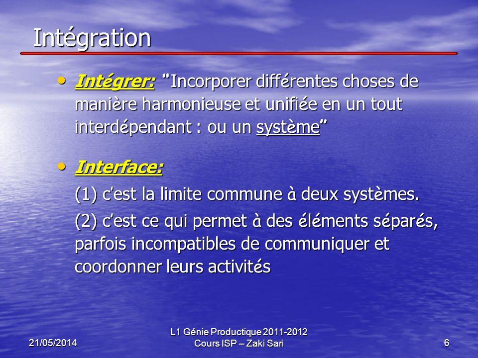 21/05/2014 L1 Génie Productique 2011-2012 Cours ISP – Zaki Sari6 Intégration Int é grer: Incorporer diff é rentes choses de mani è re harmonieuse et u