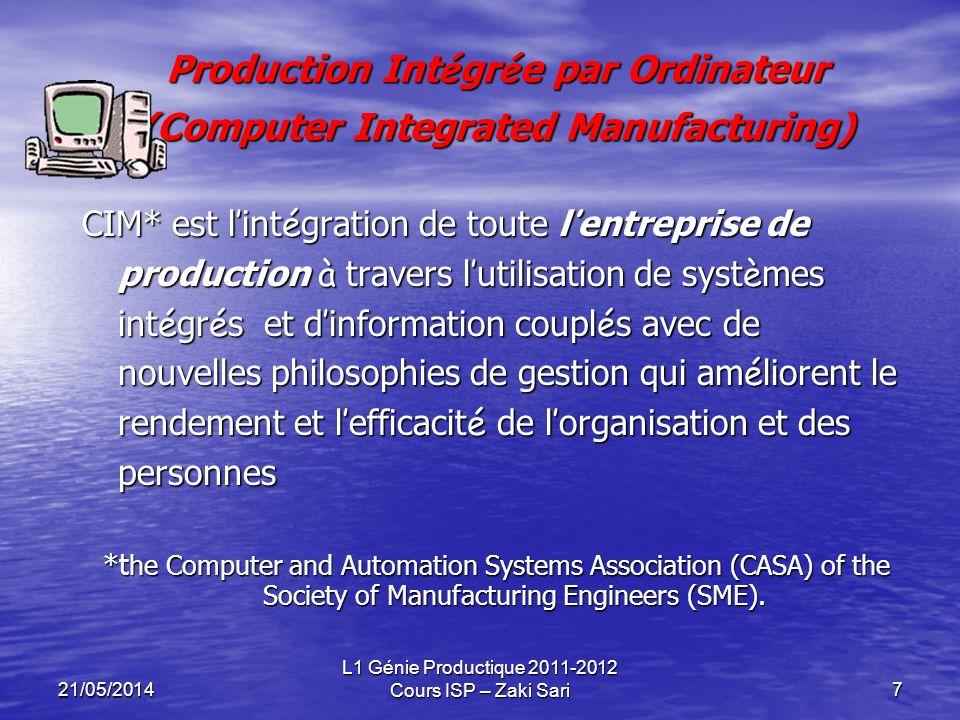 21/05/2014 L1 Génie Productique 2011-2012 Cours ISP – Zaki Sari7 Production Int é gr é e par Ordinateur (Computer Integrated Manufacturing) CIM* est l