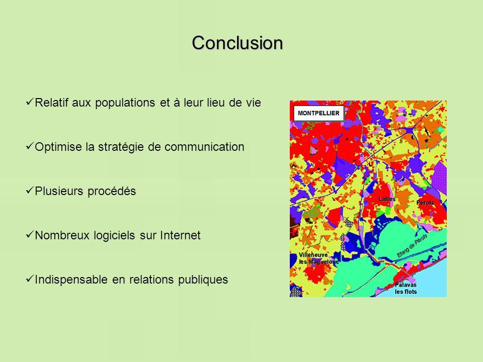 Conclusion Relatif aux populations et à leur lieu de vie Optimise la stratégie de communication Indispensable en relations publiques Nombreux logiciel