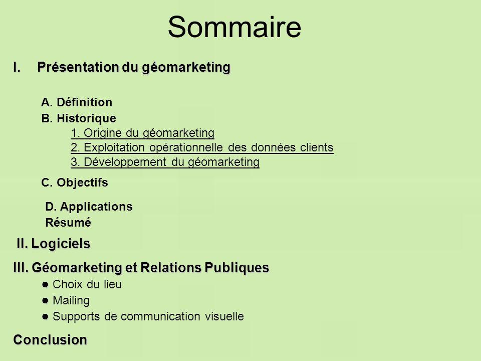 Sommaire I.Présentation du géomarketing Conclusion Supports de communication visuelle Mailing Choix du lieu III. Géomarketing et Relations Publiques I