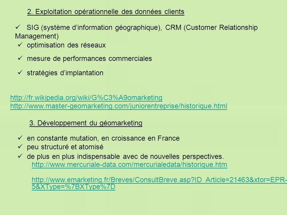 2. Exploitation opérationnelle des données clients http://www.mercuriale-data.com/mercurialedata/historique.htm http://www.emarketing.fr/Breves/Consul