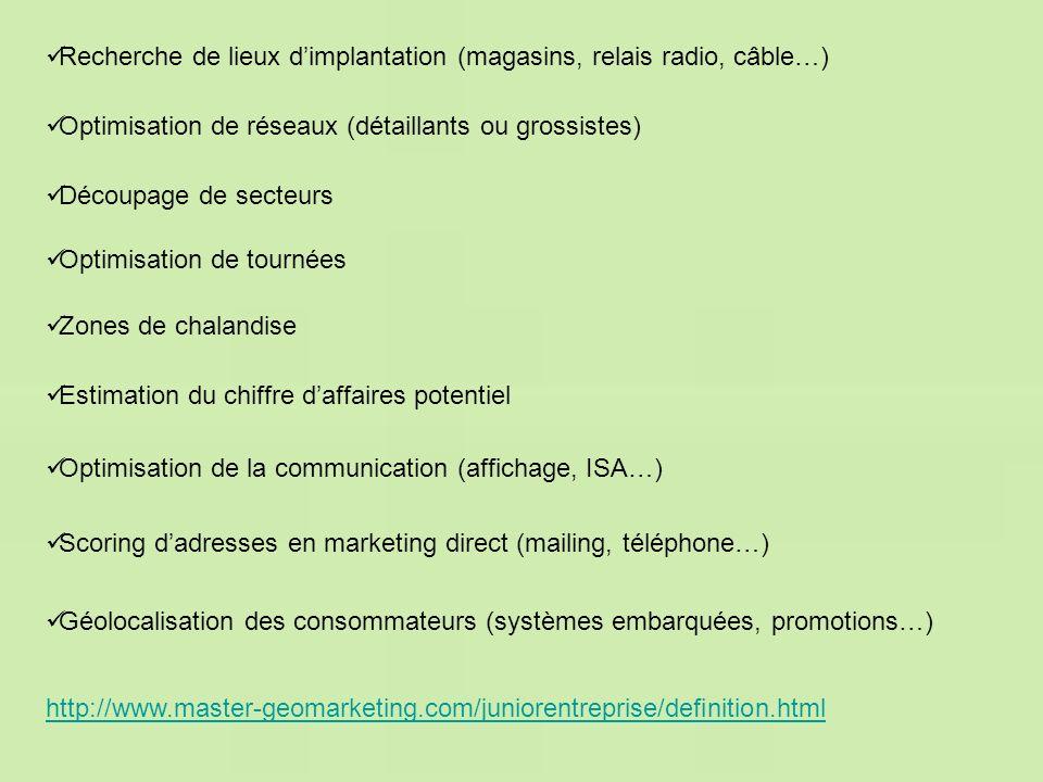 http://www.master-geomarketing.com/juniorentreprise/definition.html Géolocalisation des consommateurs (systèmes embarquées, promotions…) Scoring dadre