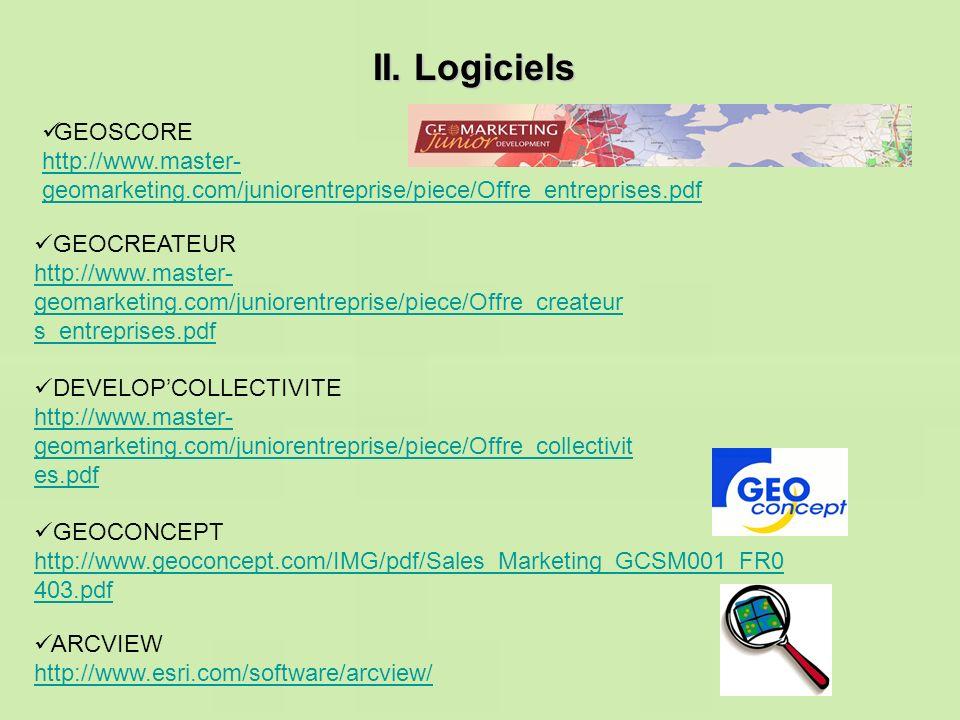 II. Logiciels ARCVIEW http://www.esri.com/software/arcview/ GEOCONCEPT http://www.geoconcept.com/IMG/pdf/Sales_Marketing_GCSM001_FR0 403.pdf DEVELOPCO