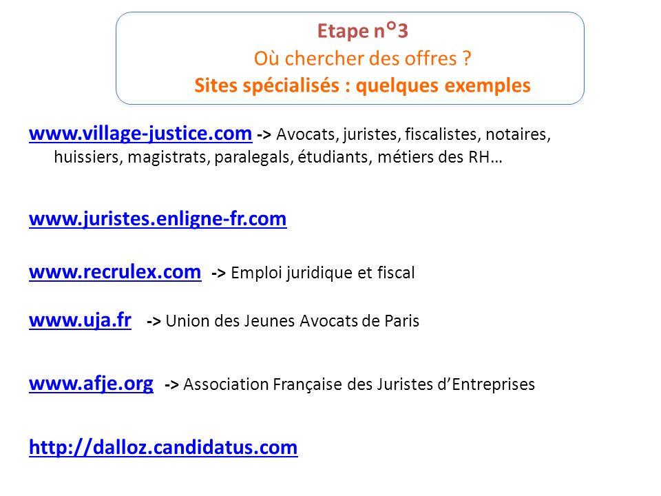 Etape n°3 Où chercher des offres ? Sites spécialisés : quelques exemples www.village-justice.comwww.village-justice.com -> Avocats, juristes, fiscalis