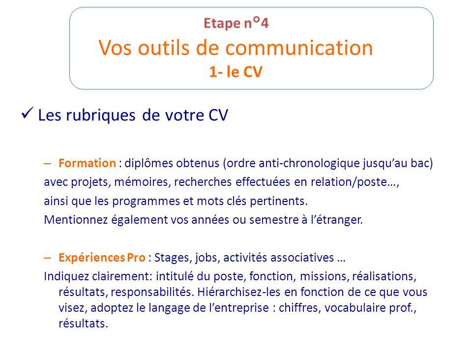Etape n°4 Vos outils de communication 1- le CV Les rubriques de votre CV – Formation : diplômes obtenus (ordre anti-chronologique jusquau bac) avec pr