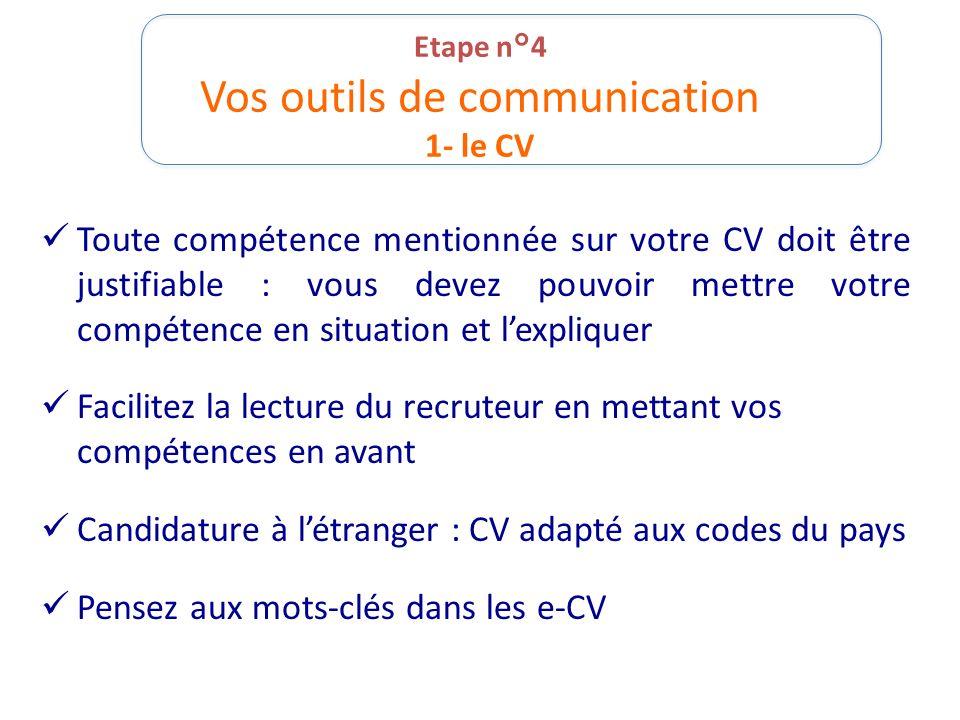 Etape n°4 Vos outils de communication 1- le CV Toute compétence mentionnée sur votre CV doit être justifiable : vous devez pouvoir mettre votre compét
