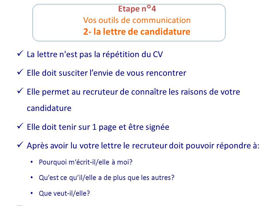 Etape n°4 Vos outils de communication 2- la lettre de candidature La lettre n'est pas la répétition du CV Elle doit susciter lenvie de vous rencontrer
