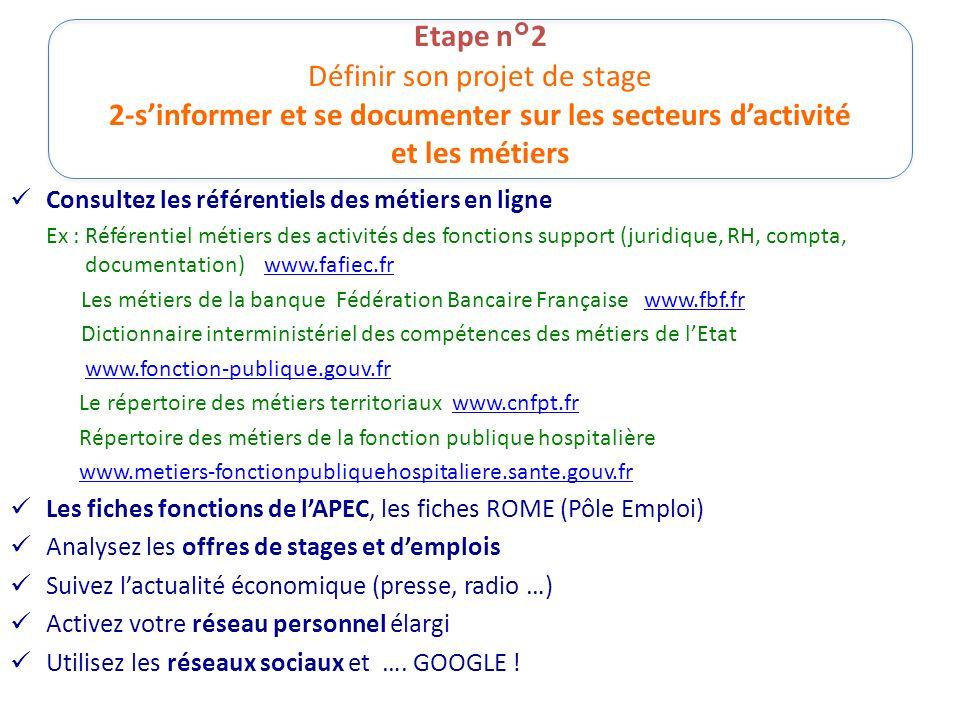Etape n°2 Définir son projet de stage 2-sinformer et se documenter sur les secteurs dactivité et les métiers Consultez les référentiels des métiers en