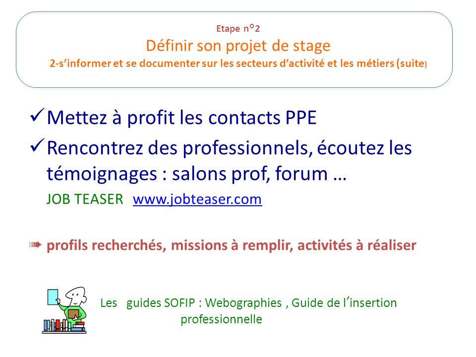 Etape n°2 Définir son projet de stage 2-sinformer et se documenter sur les secteurs dactivité et les métiers (suite ) Mettez à profit les contacts PPE
