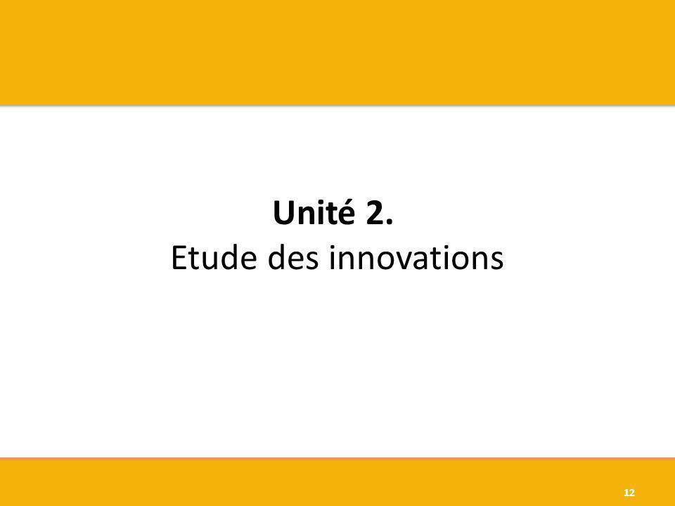 Unité 2. Etude des innovations 12