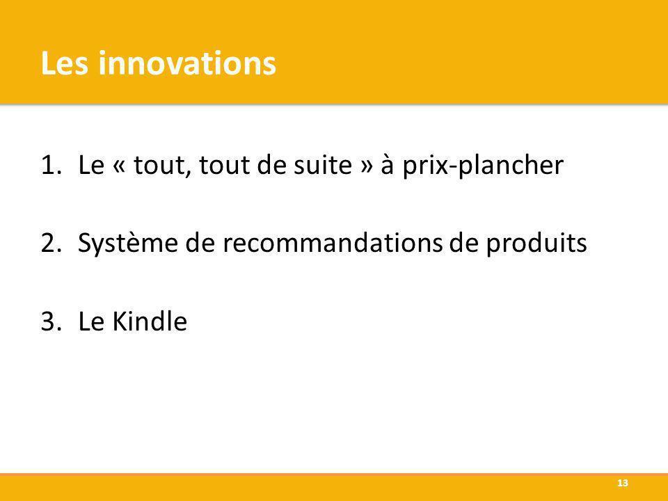 Les innovations 1.Le « tout, tout de suite » à prix-plancher 2.Système de recommandations de produits 3.Le Kindle 13