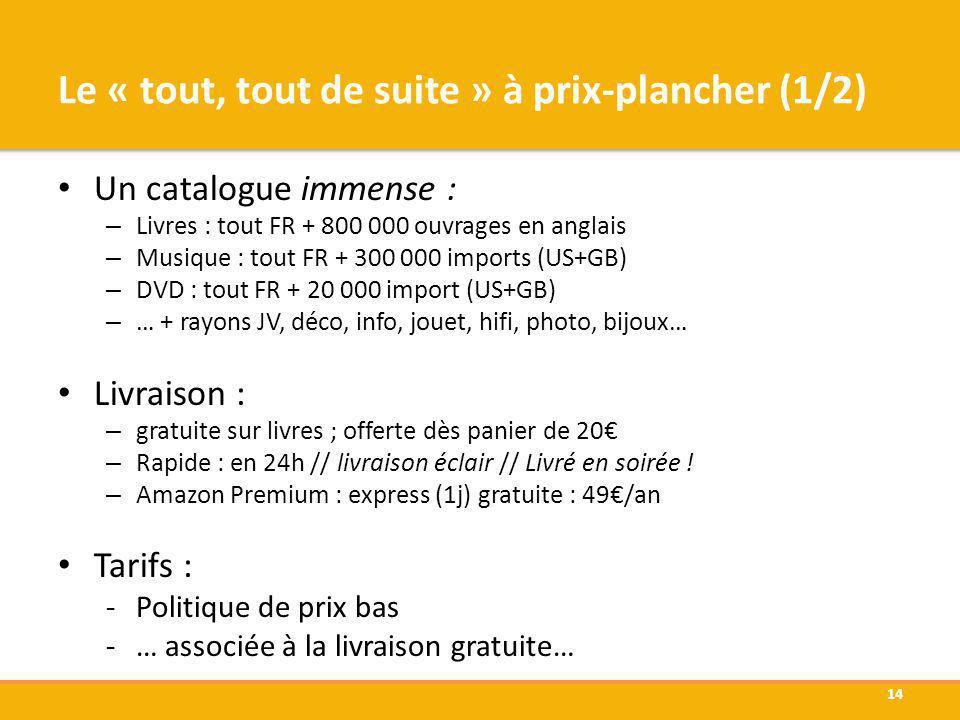 Un catalogue immense : – Livres : tout FR + 800 000 ouvrages en anglais – Musique : tout FR + 300 000 imports (US+GB) – DVD : tout FR + 20 000 import