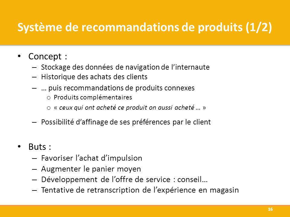 Système de recommandations de produits (1/2) Concept : – Stockage des données de navigation de linternaute – Historique des achats des clients – … pui