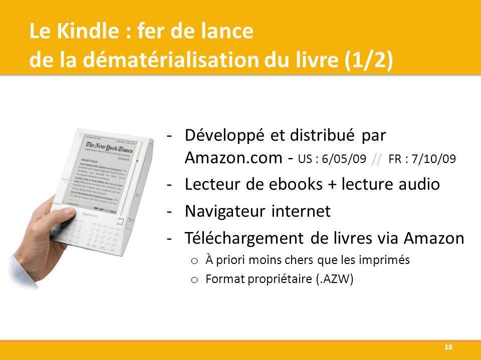 Le Kindle : fer de lance de la dématérialisation du livre (1/2) -Développé et distribué par Amazon.com - US : 6/05/09 // FR : 7/10/09 -Lecteur de eboo