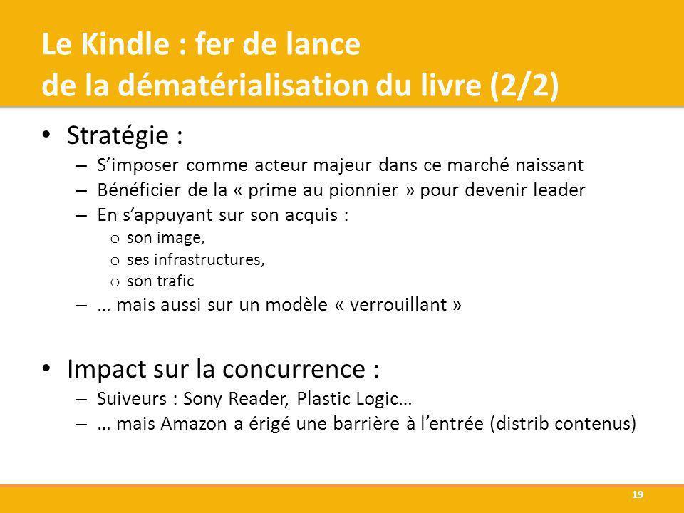 Le Kindle : fer de lance de la dématérialisation du livre (2/2) Stratégie : – Simposer comme acteur majeur dans ce marché naissant – Bénéficier de la