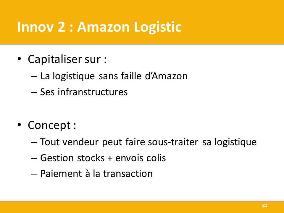 Innov 2 : Amazon Logistic Capitaliser sur : – La logistique sans faille dAmazon – Ses infranstructures Concept : – Tout vendeur peut faire sous-traite