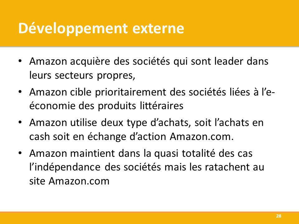 Développement externe Amazon acquière des sociétés qui sont leader dans leurs secteurs propres, Amazon cible prioritairement des sociétés liées à le-